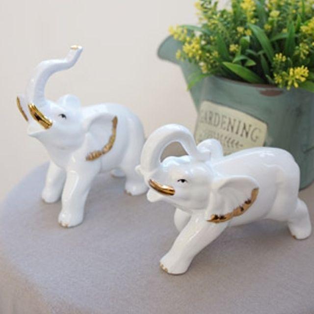 황금 화이트 코끼리 2P 장식품