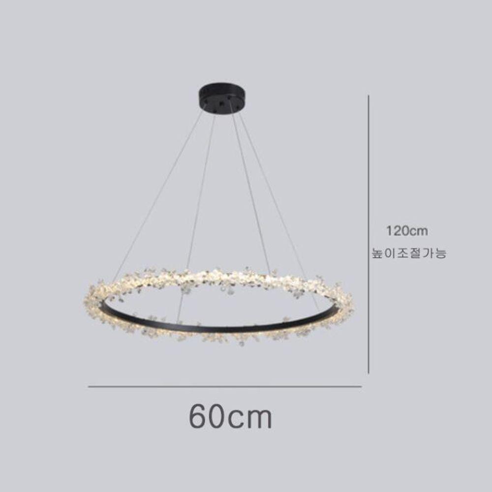 샹등리 블랙 원형 3색변광 1단 60cm