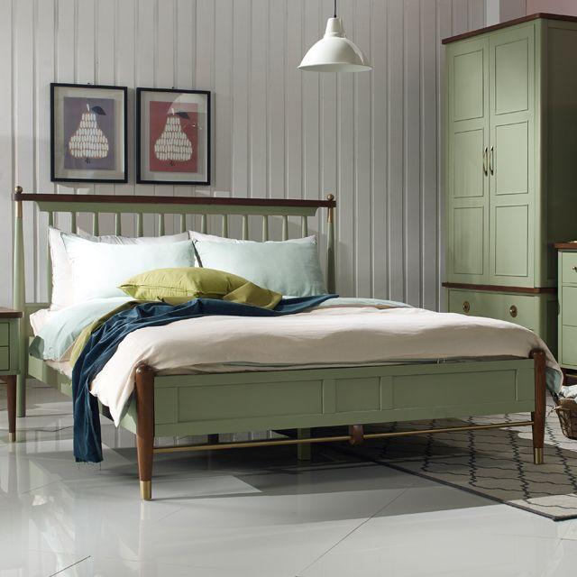 샤를 북유럽 평상형 원목 퀸 침대