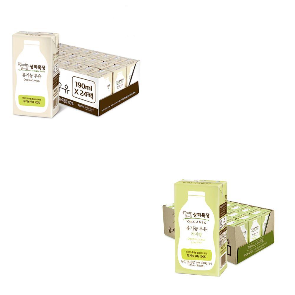 상하목장 우유 흰 190ml / 저지방 200ml 24팩