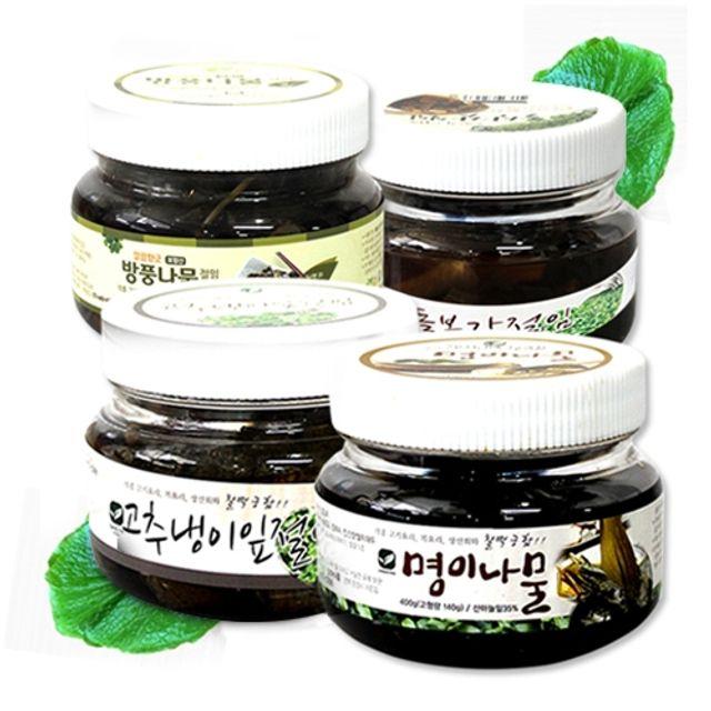 미소반 깊은맛을 살린 건강하고 맛있는 절임 베이직 4종세트(명이나물 고추냉이잎 돌산갓 방풍나물)