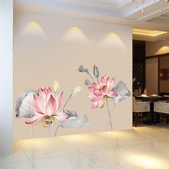 연꽃 벽지 스티커 벽 장식 방수 스티커 셀프 접착식