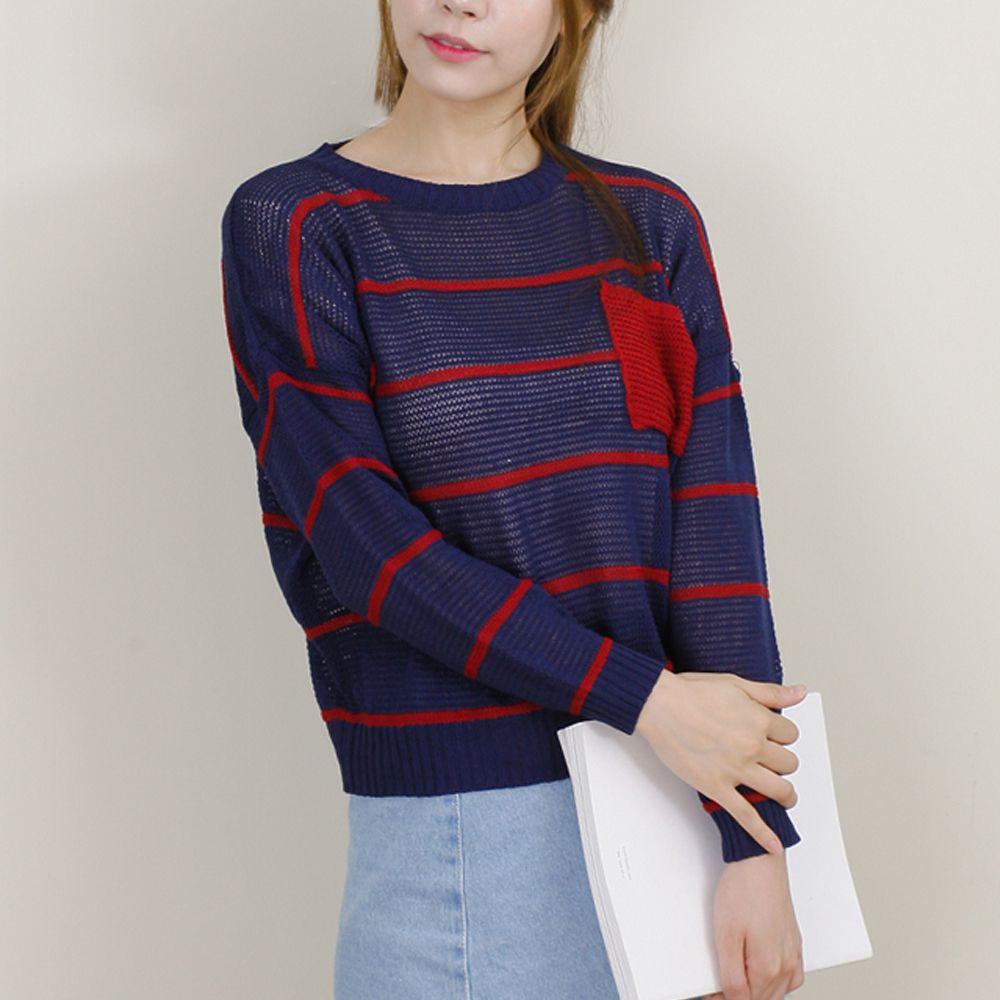 여성 가슴포켓 시스루 스트라이프 라운드 니트 티셔츠