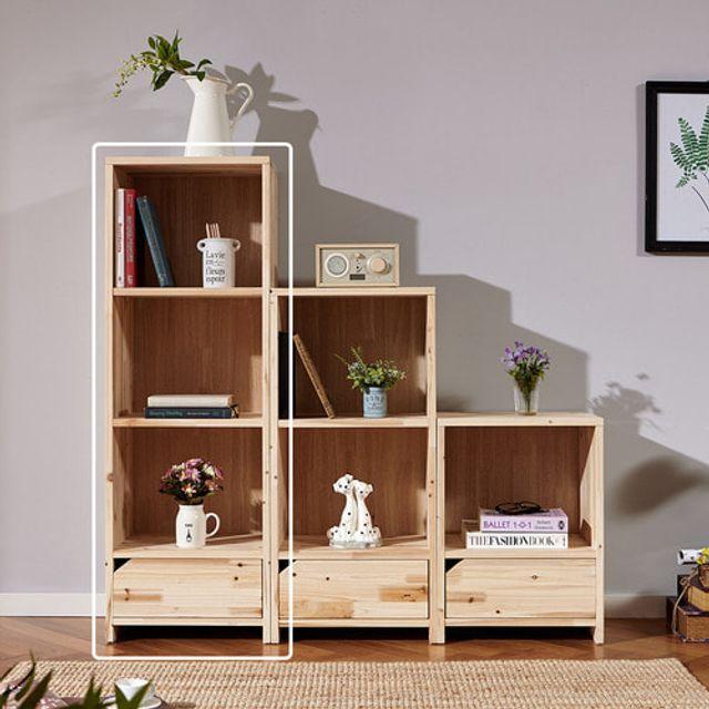 4단책장 서랍장 수납장 삼나무원목 책꽂이 다용도책장