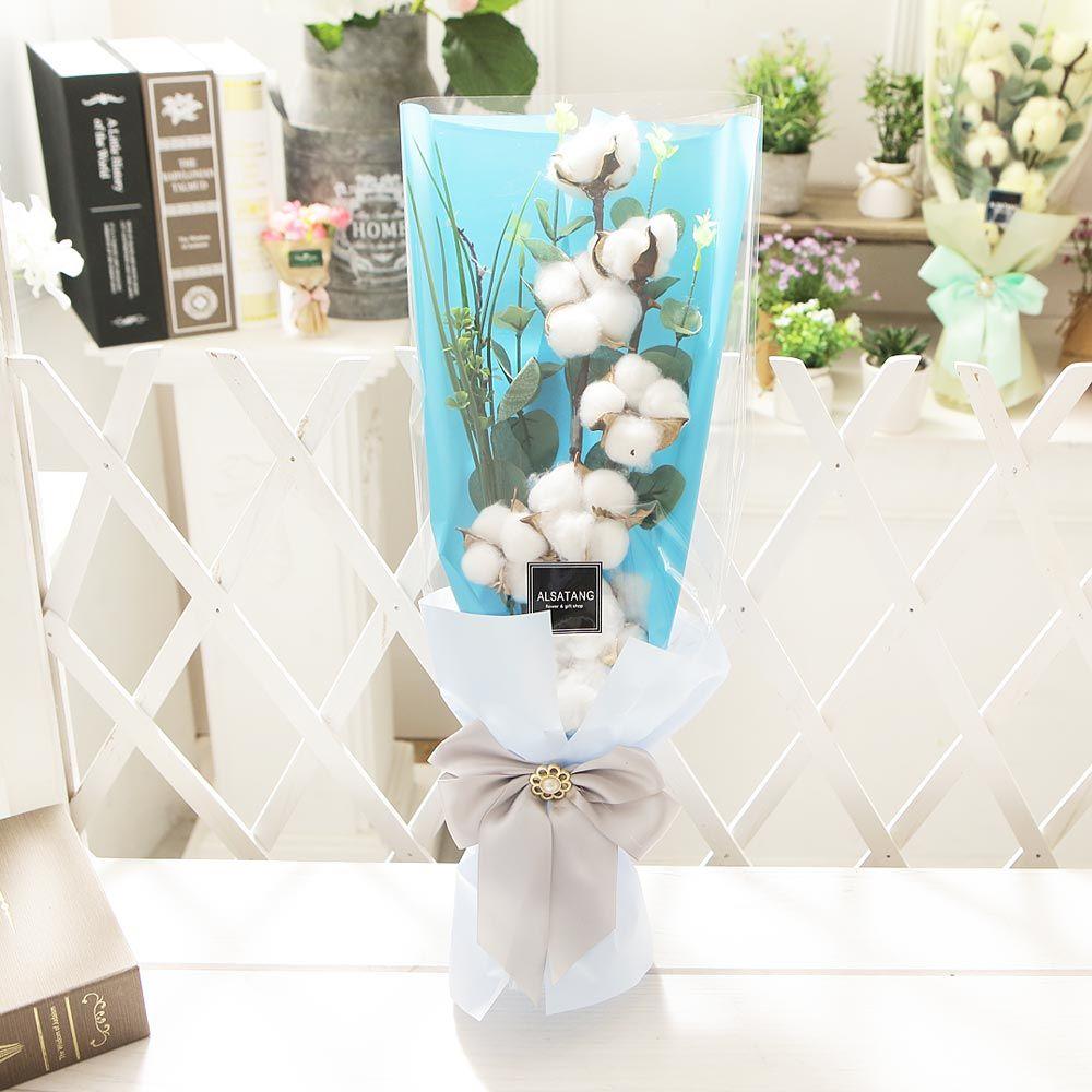 코튼플라워(화이트) 비누꽃 화이트데이 선물 꽃다발
