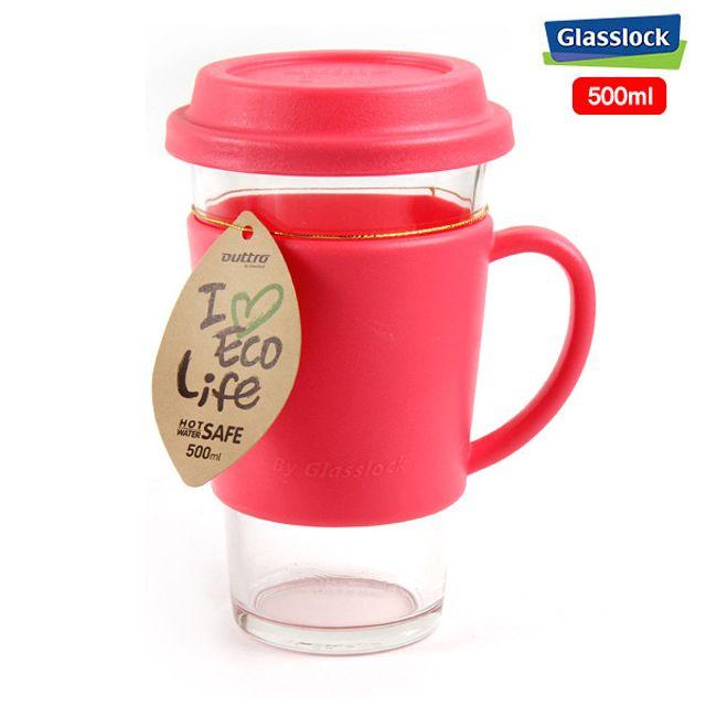 글라스락 에코 유리 텀블러 유리컵(핑크)-500ml