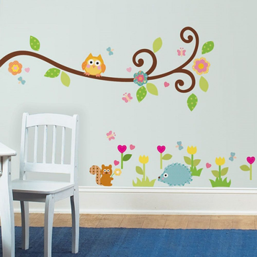 어린이집 아이방 DIY 데코 시트 나무 줄기 위 부엉이