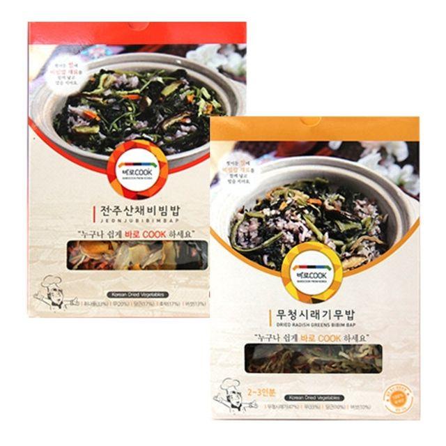 바로COOK 누구나 쉽게 만들어먹는 건나물밥 2종 3호 (무청시래기무밥 30g 3팩 전주산채비빔밥 30g 3팩)