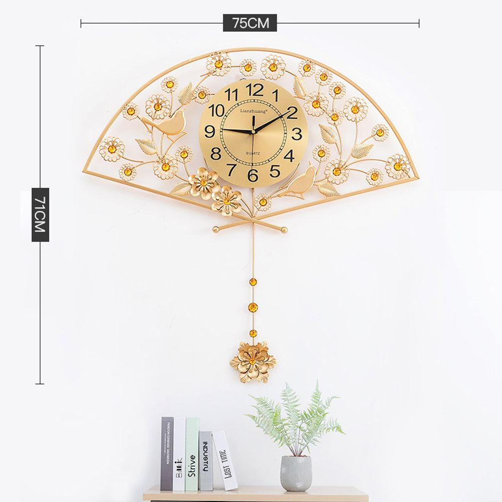 [더산직구]부채 모양 벽 시계 거실 75X71CM 미니멀리스트 장식/ 배송기간 영업일기준 7~15일