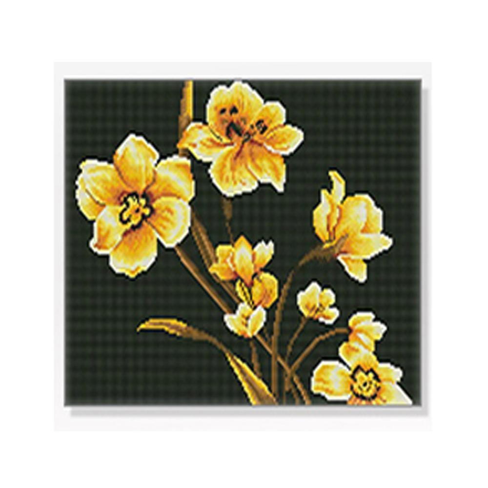 DIY 보석십자수 정물시리즈 황금모란꽃 40X50