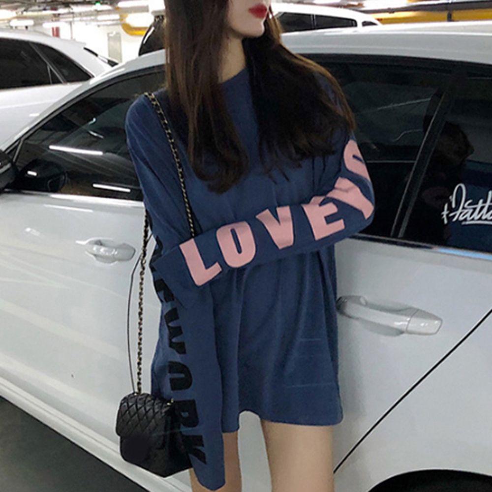 여성 레터링 포인트 루즈핏 핑크 블루 긴팔 티셔츠