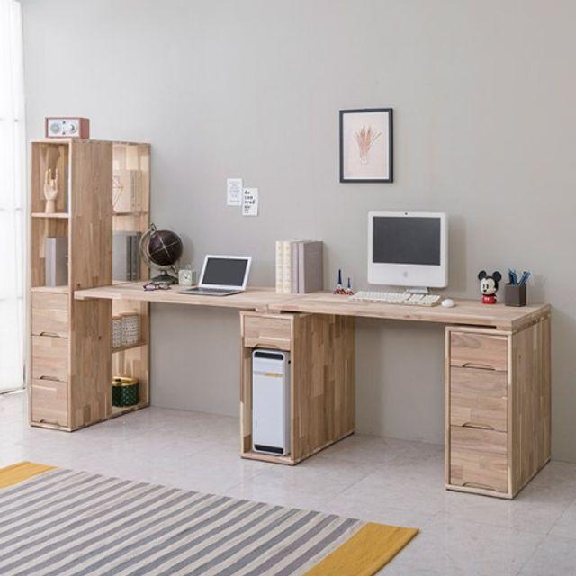 책상세트(2500) 2인용 서랍통 공부 노트북 책상 원목