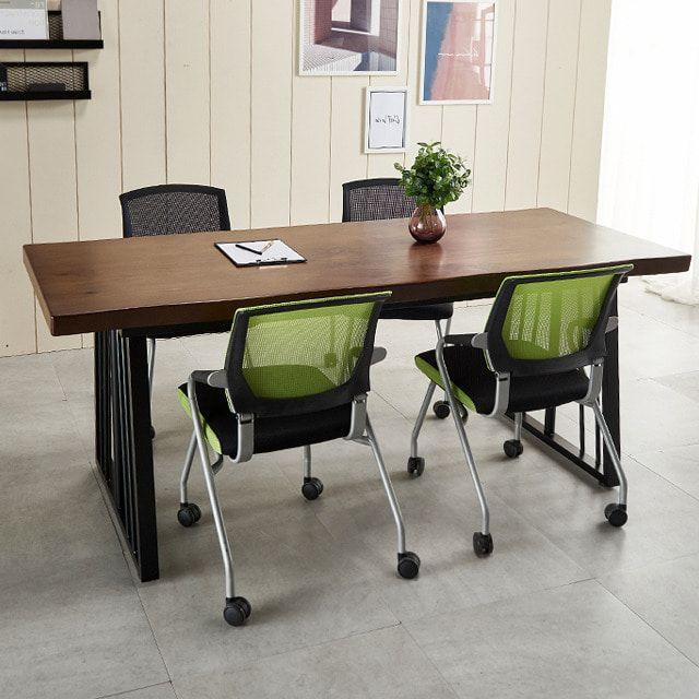 우드슬랩 테이블세트1400 사무실 일자책상 포그니체어