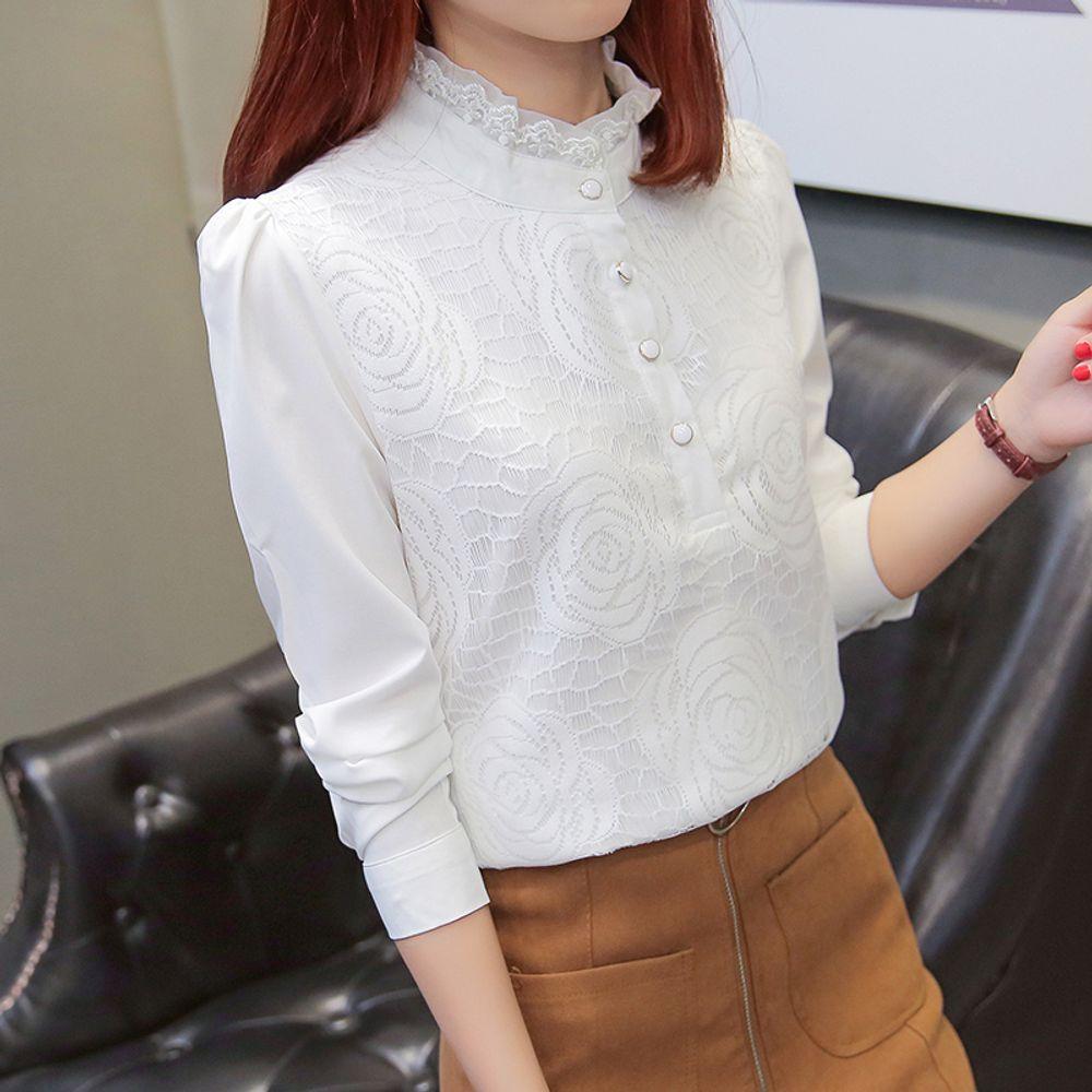 [더산직구]가을 겨울 셔츠 여성 긴팔 높은 칼라 숙녀셔츠 캐주얼/ 배송기간 영업일기준 7~15일