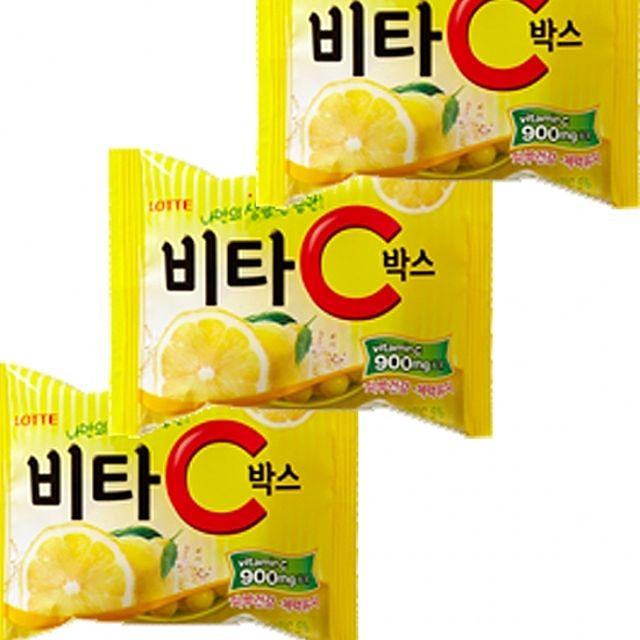 롯데)비타씨 박스(용기) 65g x 12개 새콤달콤한 레몬맛 캔디
