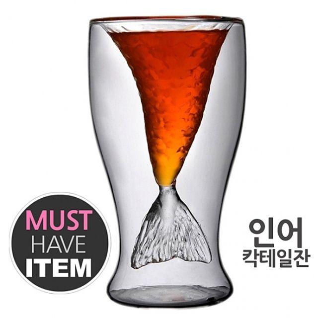 [ 인어 칵테일잔 스트레이트잔 이중유리컵 ] 인어컵 이중유리잔 아이디어 파티 칵테일컵