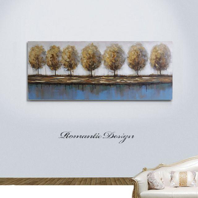 가로수강풍경특대  유화 벽걸이 그림액자