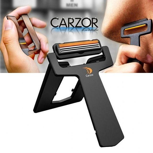 지갑속 카드면도기 카죠 3중면도날3개 거울포함 - 휴대용 지갑면도기 소형면도기 손거울 카조