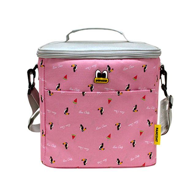 W33B251 핑크그레이 팬콧 런치백 도시락가방 쿨러백 트로피칼