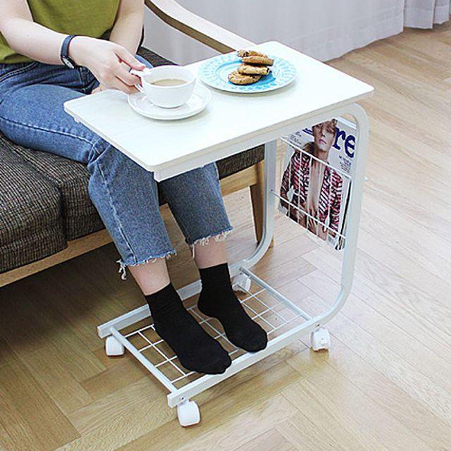 DIY 이동식 사이드 테이블-화이트 수납형 다용도 탁자