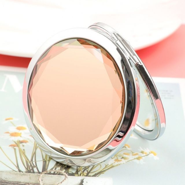 휴대용 크리스탈 양면 손거울 (핑크)