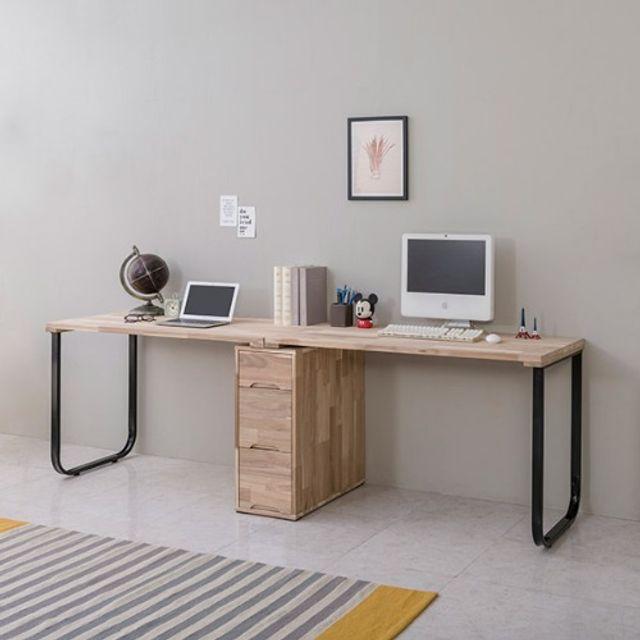 2인용책상(2200) 철다리 서랍통 다용도 테이블 가구