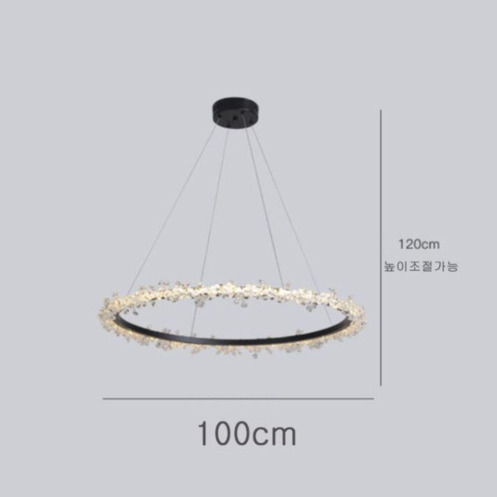 샹등리 블랙 원형 3색변광 1단 100cm
