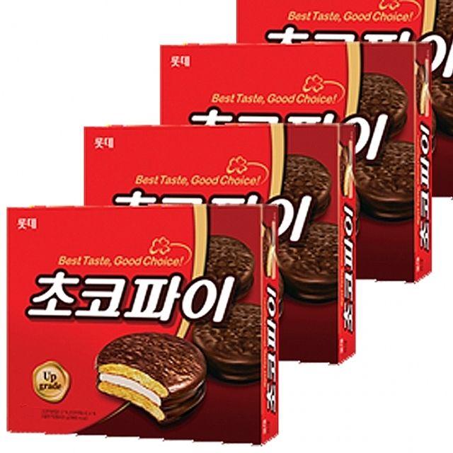 롯데)초코파이 420g x 4개 고급 초코릿과 마시멜로우 간편식