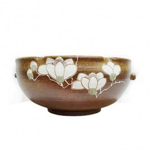 옹기수반 하얀꽃 소사이즈