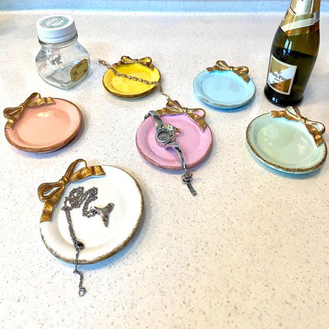 빈티지한 5가지 컬러 악세사리 원형 미니 리본 트레이