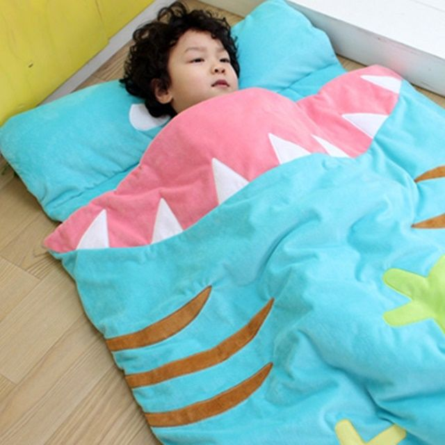 어린이집 유아 아동 포근한 상어 낮잠 이불 가방 세트