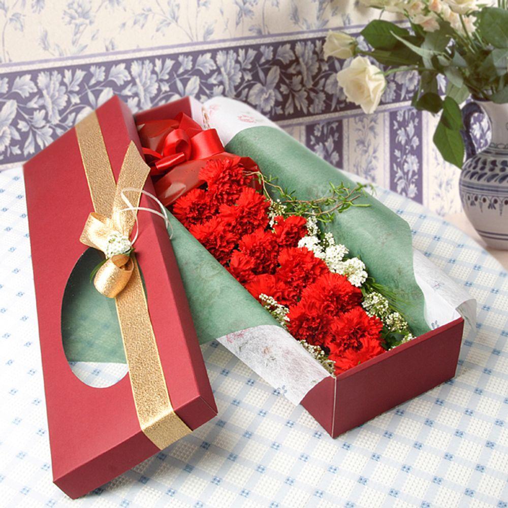 온유한 꽃상자-중급 카네이션 3시간배송 전국 꽃배달 고백 결혼 기념일 감사선물
