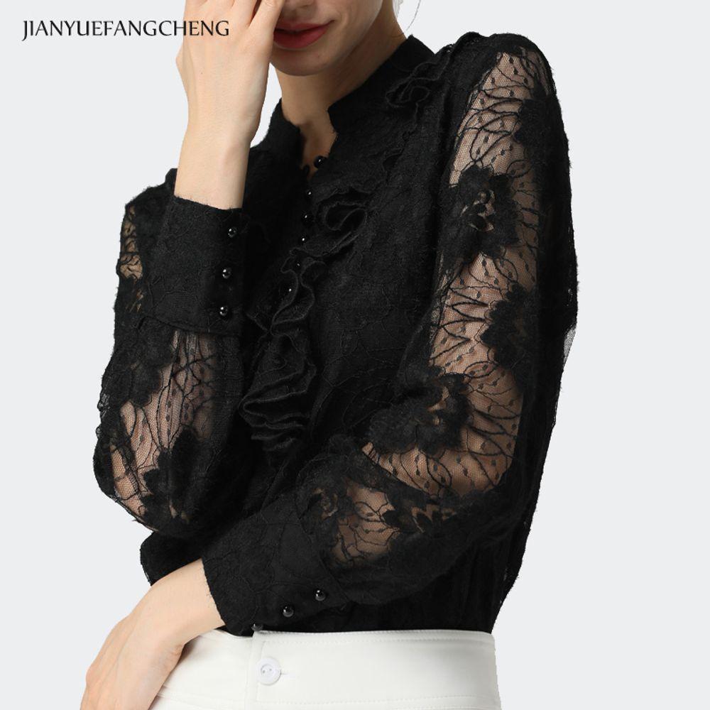 [더산직구]봄 긴팔 V 넥 레이스 셔츠 여성 패션 퀄리티 와이셔츠/ 배송기간 영업일기준 7~15일