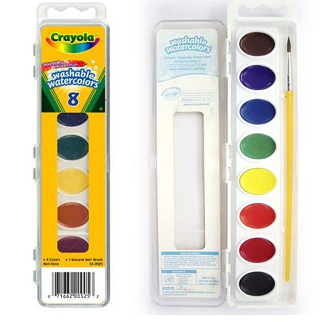 어린이집 유치원 미술 교구 수채화 물감 8색과 붓