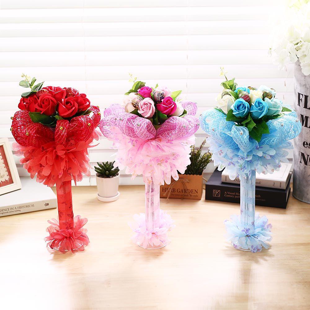 퐁퐁 비누꽃 사탕부케(블루) 화이트데이 선물 꽃다발