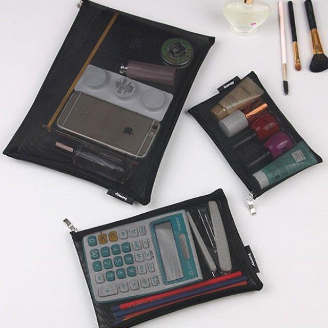 빠띠라인 여행용 메쉬파우치 고급형 3종세트 AMMS02 [제작 대량 도매 로고 인쇄 레이저 마킹 각인 나염 실크 uv 포장 공장 문의는 네이뽕]