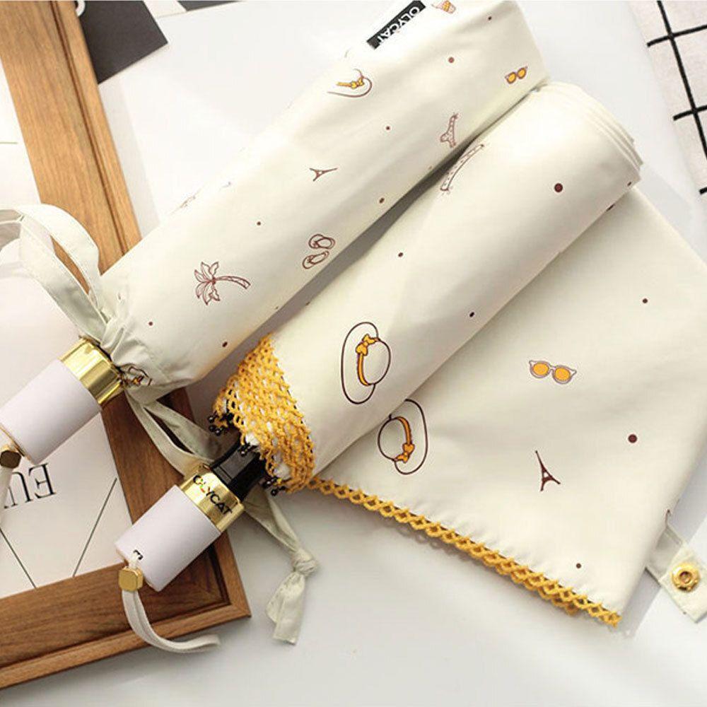 올리켓 UV차단 수동 3단 양우산 화이트 휴대용 우산