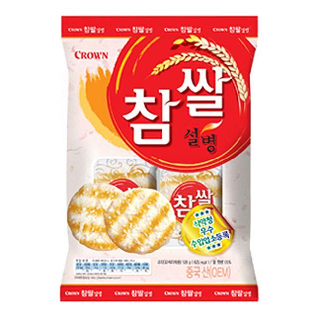 크라운 찹쌀설병 1박스(128gx20봉) 쌀 과자 웰빙 간식 전병 달지 않음