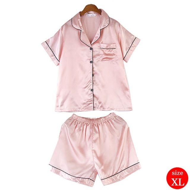 실크 슬립 반팔바지 잠옷세트 핑크(XL)