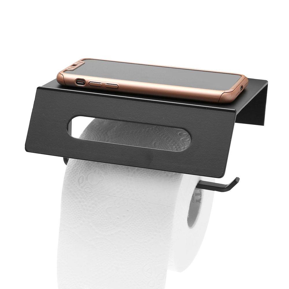 블랙알미늄 거치대겸용 휴지걸이-화장실 화장지걸이