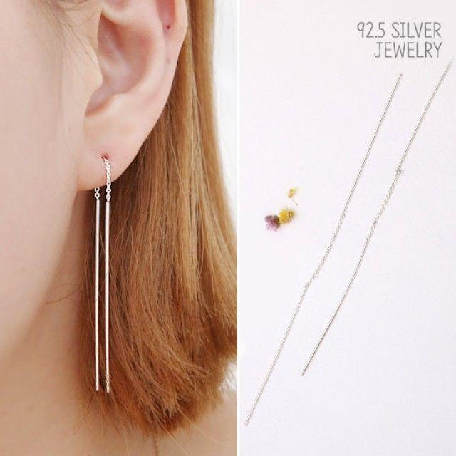 92.5 silver 귀걸이 모던 실버 롱귀걸이 JM127