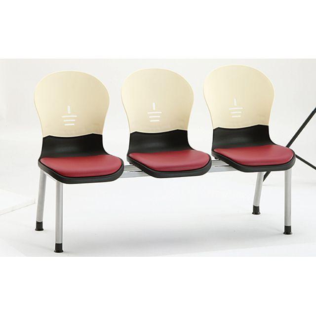 3인 연결 의자 TR3 블랙 아이보리 병원 대기실 휴게실