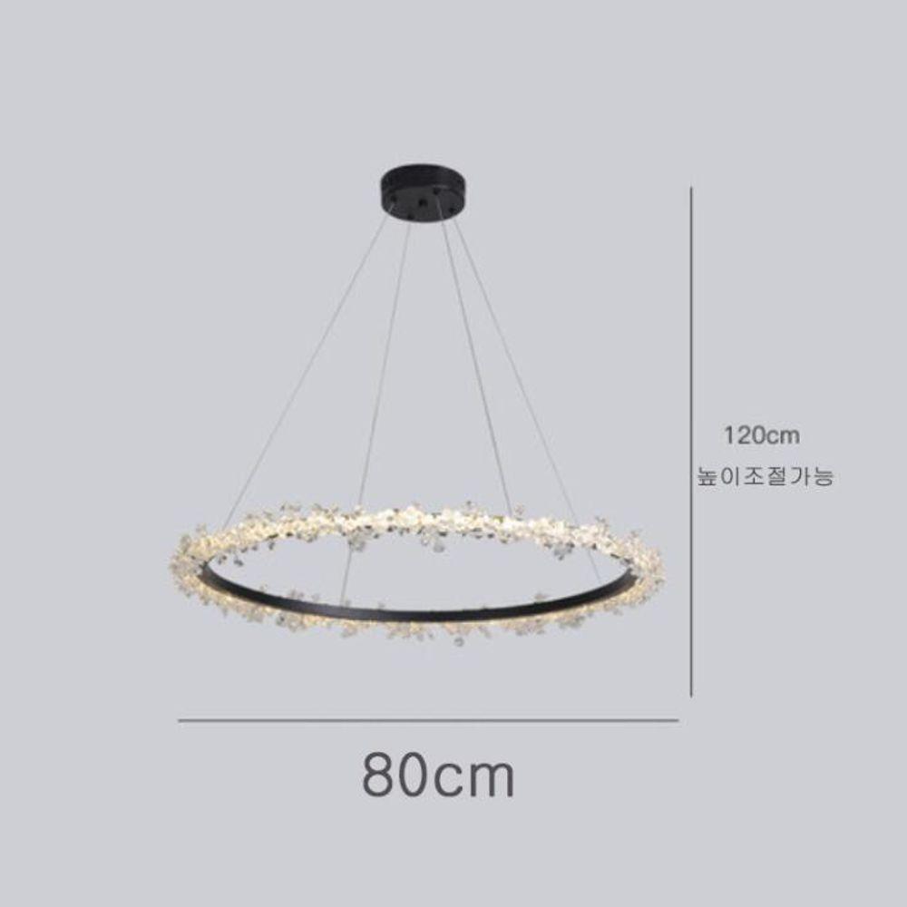 샹등리 블랙 원형 3색변광 1단 80cm