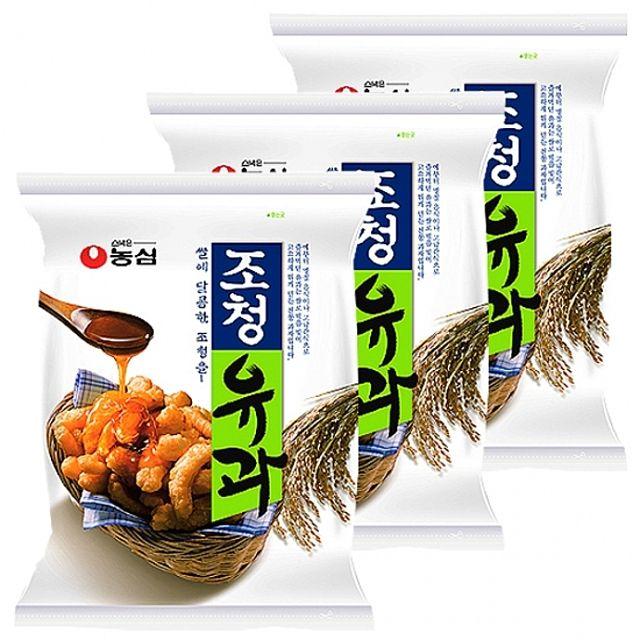 농심)조청유과 96gx10개 찹쌀 조청 쫀득 바삭 쌀과자