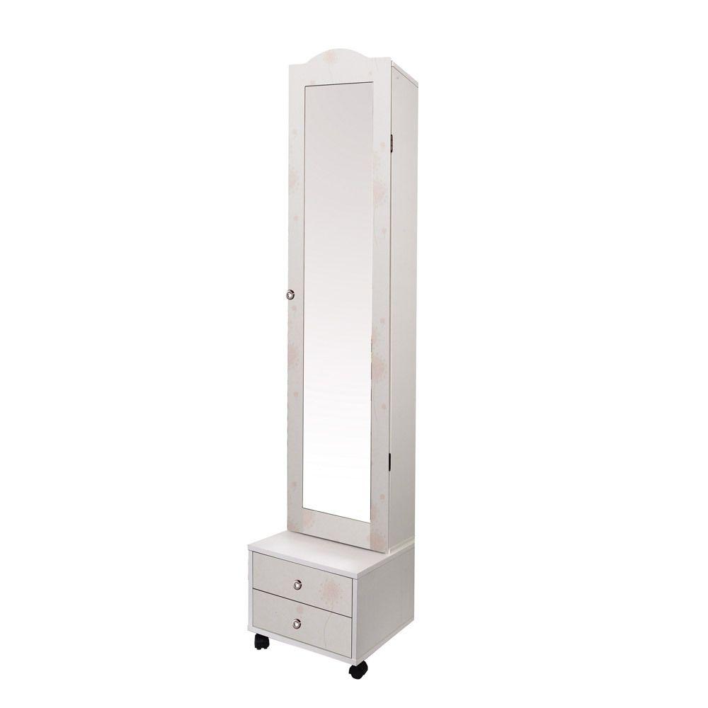 글리비체 화이트 전신거울 화장대 수납장/전신경거치