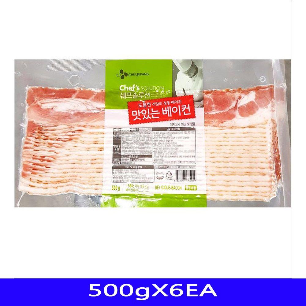냉동식품 맛있는베이컨 반찬 영양간식 CJ 500gX6EA