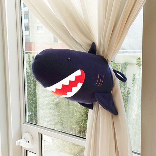 동물 커튼 타이백 커텐 장식 인형_상어