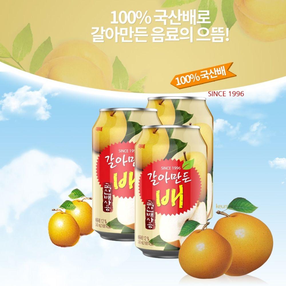 GnJ 갈배음료 국산배갈배음료 갈아만든배340mlx24캔