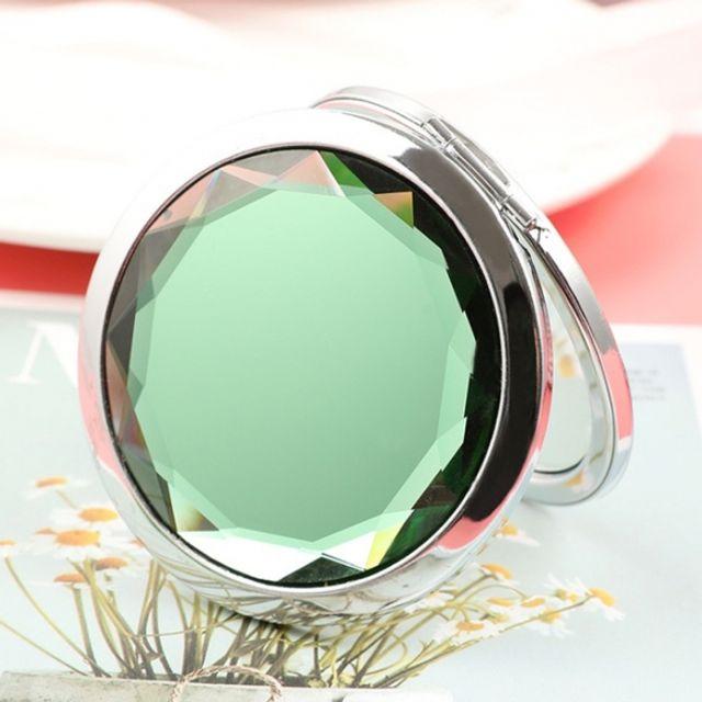 휴대용 크리스탈 양면 손거울 (에메랄드)