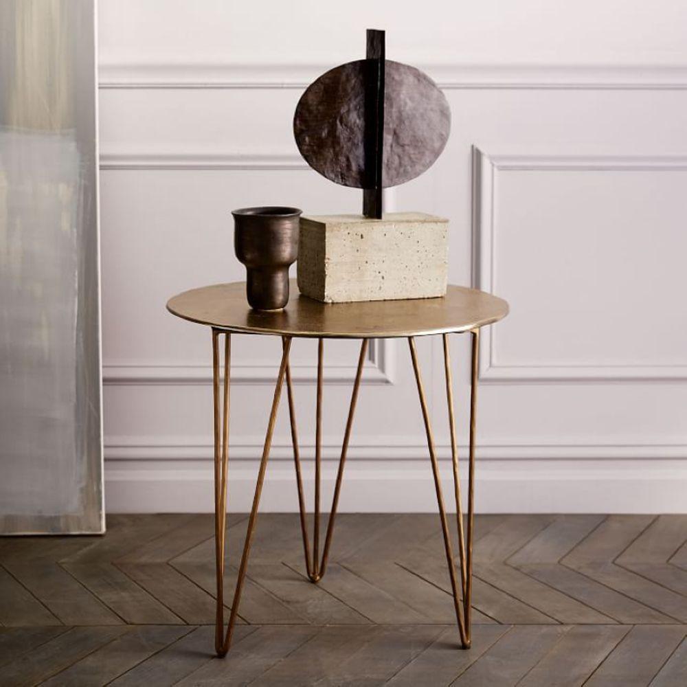 북유럽 현대 사이드 미니 커피테이블 단철원형 테이블